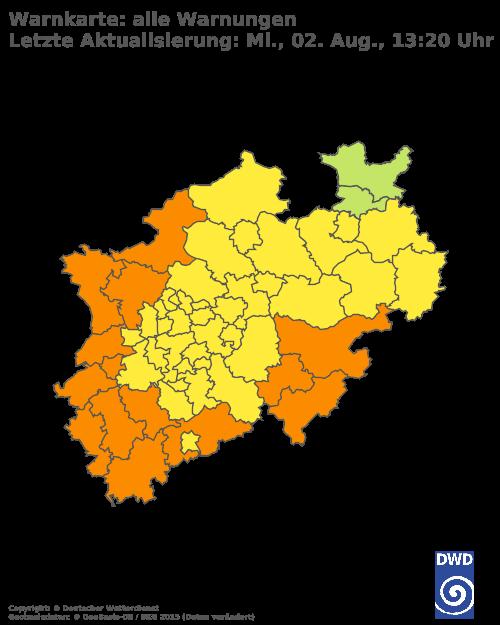 Aktuelle Wetterwarnungen für Wuppertal